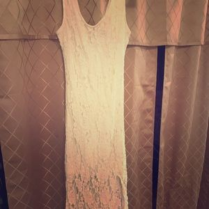 Lace long white dress with slit